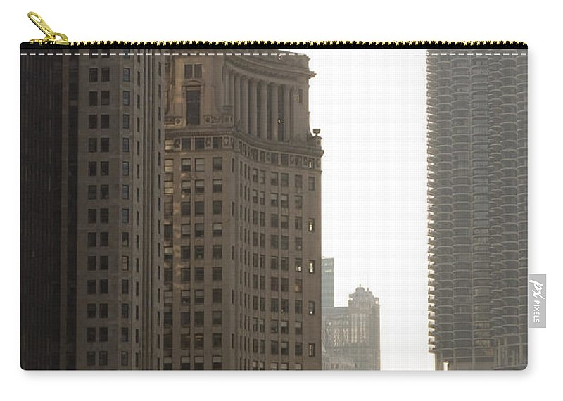 Chicago Windy City River Bridge Building Skyscraper Tall High Big Metro Urban Carry-all Pouch featuring the photograph Along The River by Andrei Shliakhau
