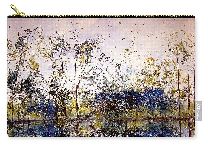 Abstract Carry-all Pouch featuring the painting Along The River Bank by Ruth Palmer