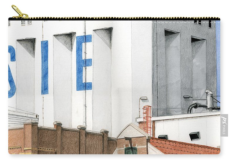 Mixed Media Carry-all Pouch featuring the mixed media Along The River Zaan Lassie Silo by Rob De Vries
