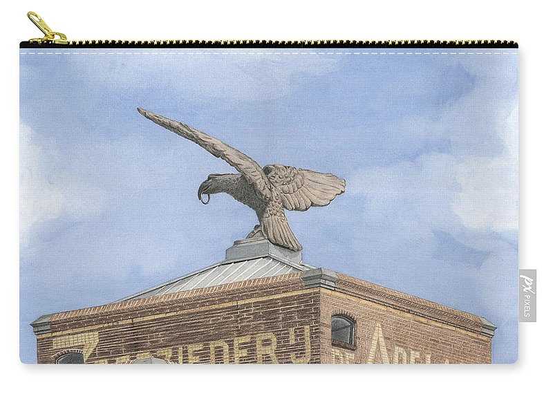 Mixed Media Carry-all Pouch featuring the mixed media Along The River Zaan Zeepziederij De Adelaar by Rob De Vries