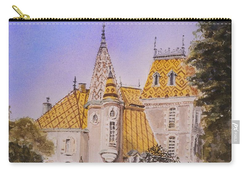 Vineyard Carry-all Pouch featuring the painting Aloxe Corton Chateau Jaune by Mary Ellen Mueller Legault