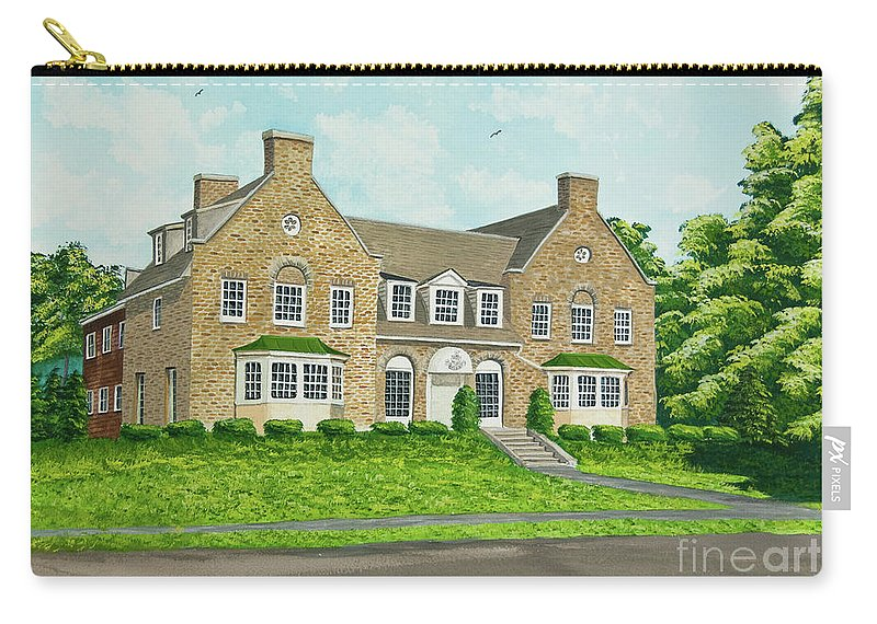 Colgate University Fraternity House Carry-all Pouch featuring the painting Alpha Tau Omega by Charlotte Blanchard