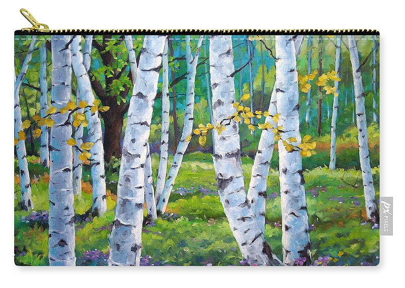Birche; Birches; Tree; Trees; Nature; Landscape; Landscapes Scenic; Richard T. Pranke; Canadian Artist Painter Carry-all Pouch featuring the painting Alpine Flowers And Birches by Richard T Pranke
