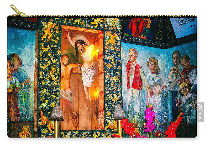 Mural Carry-all Pouch featuring the photograph Altar Painted By Famous John Walach by Mariola Bitner