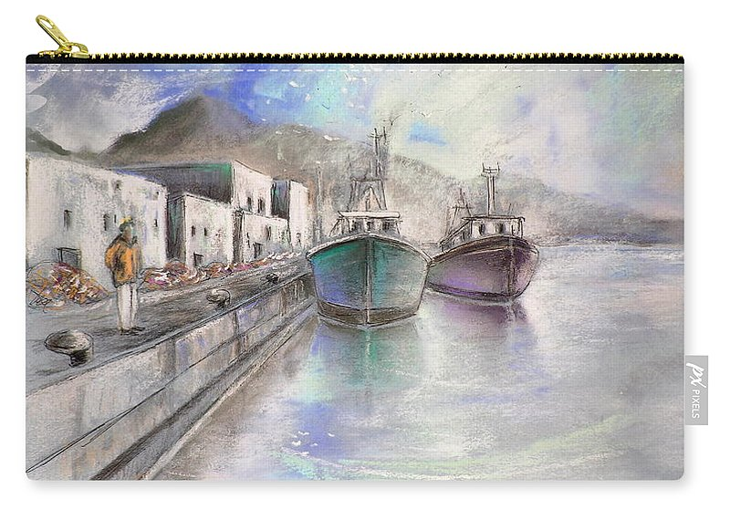 Altea Lanscape Carry-all Pouch featuring the painting Altea Harbour On The Costa Blanca 01 by Miki De Goodaboom