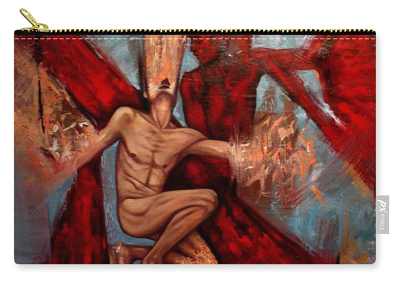 Realism Carry-all Pouch featuring the painting Alter Ego by Flamur Miftari