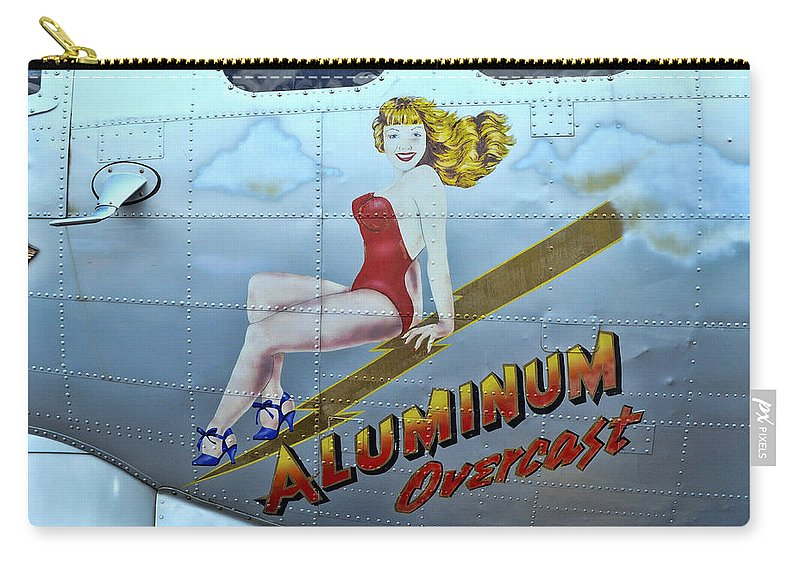 B-17 Pin-up Carry-all Pouch featuring the photograph B - 17 Aluminum Overcast Pin-up by Allen Beatty