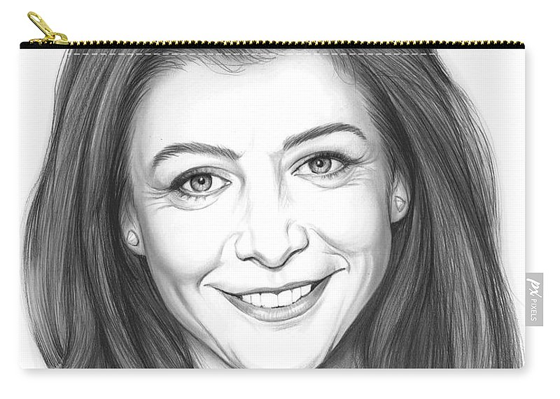 Alyson Hannigan Carry-all Pouch featuring the drawing Alyson Hannigan by Greg Joens