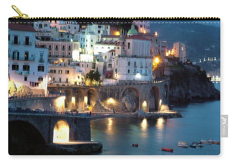 Horizontal Carry-all Pouch featuring the photograph Amalfi Coast At Night by Donna Corless
