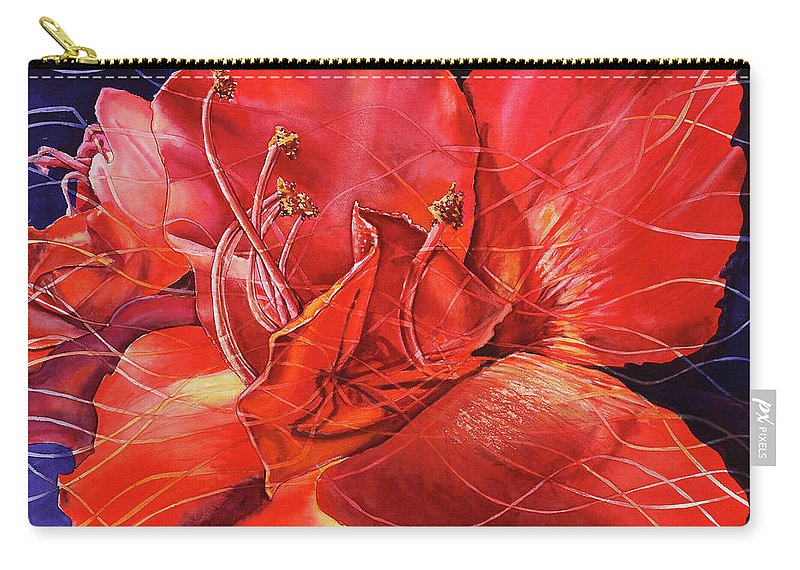Floral Carry-all Pouch featuring the painting Amaryllis 2 by Carolyn Coffey Wallace