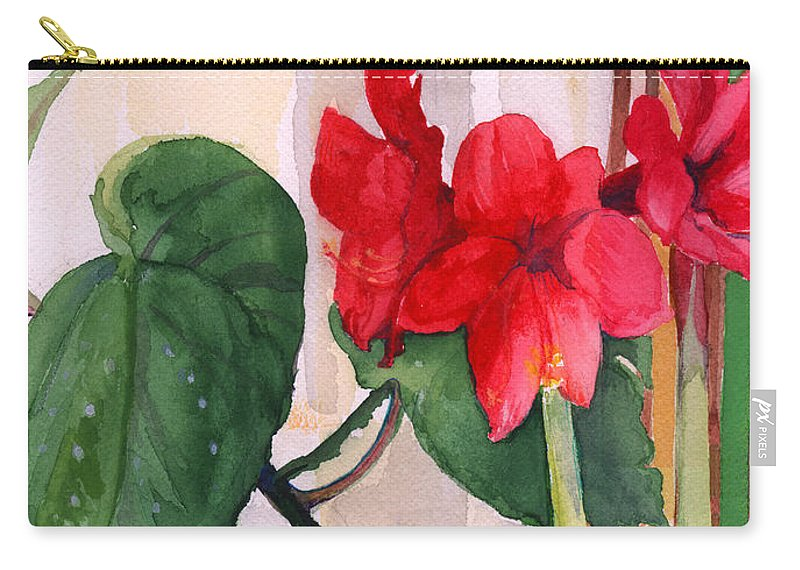 Christmas Amaryllis Carry-all Pouch featuring the painting Amaryllis And Begonia by Nancy Watson