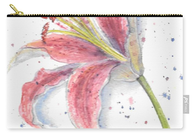 Watercolor Flower Carry-all Pouch featuring the painting Amaryllis by Debbie Lewis
