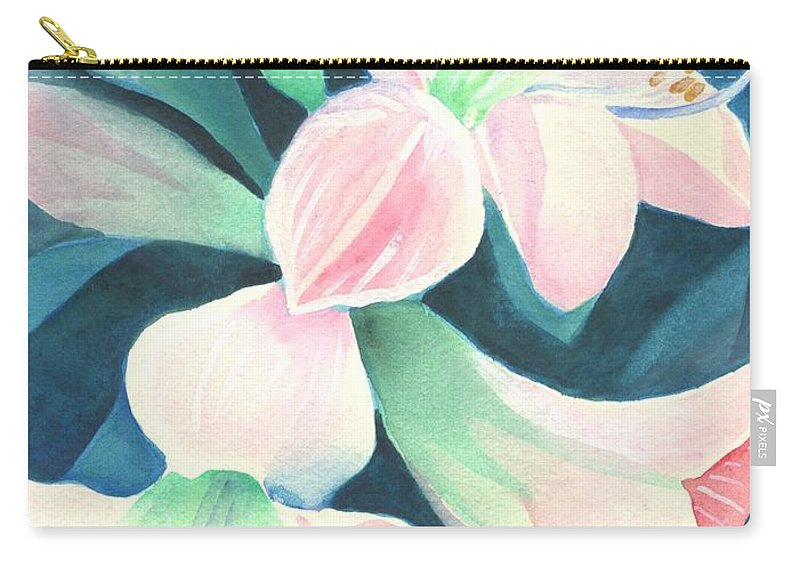 Flower Carry-all Pouch featuring the painting Amaryllis by Helena Tiainen