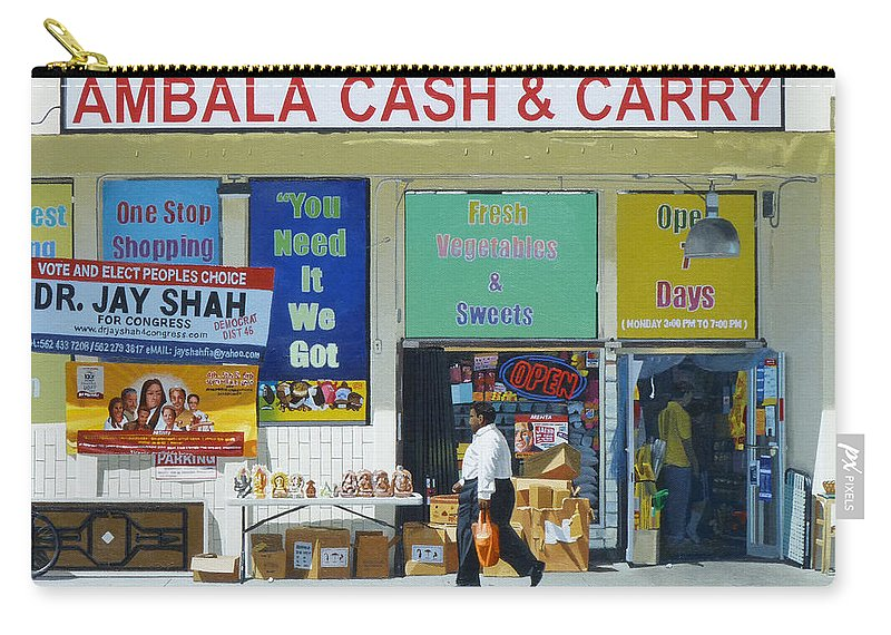 Ambala Carry-all Pouch featuring the painting Ambala Cash And Carry by Michael Ward