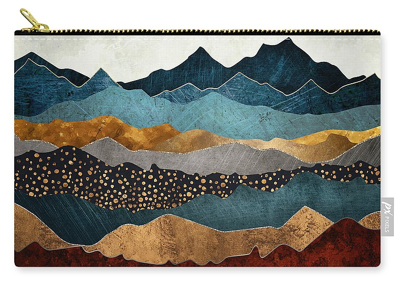 Amber Carry-all Pouch featuring the digital art Amber Dusk by Spacefrog Designs
