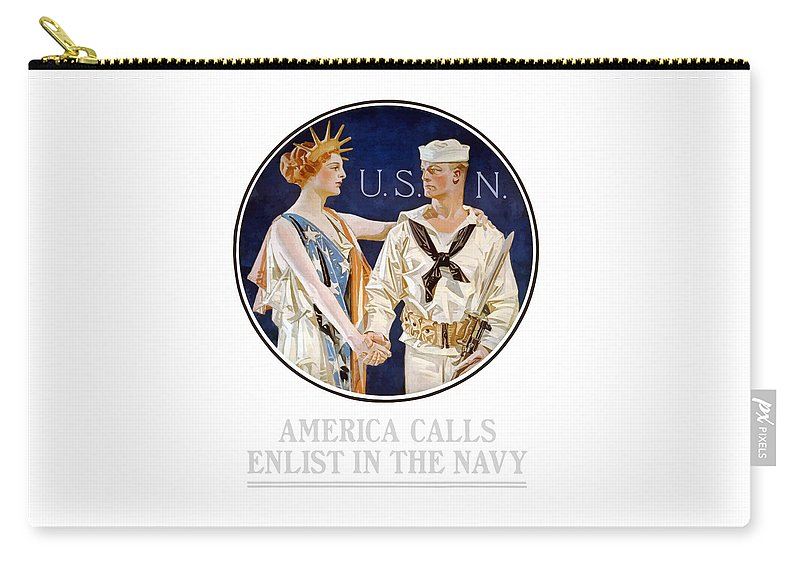 Navy Carry-all Pouch featuring the painting America Calls Enlist In The Navy by War Is Hell Store