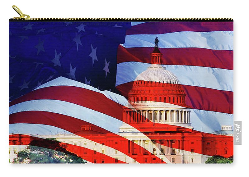 Flag Carry-all Pouch featuring the photograph America by Larry Jost