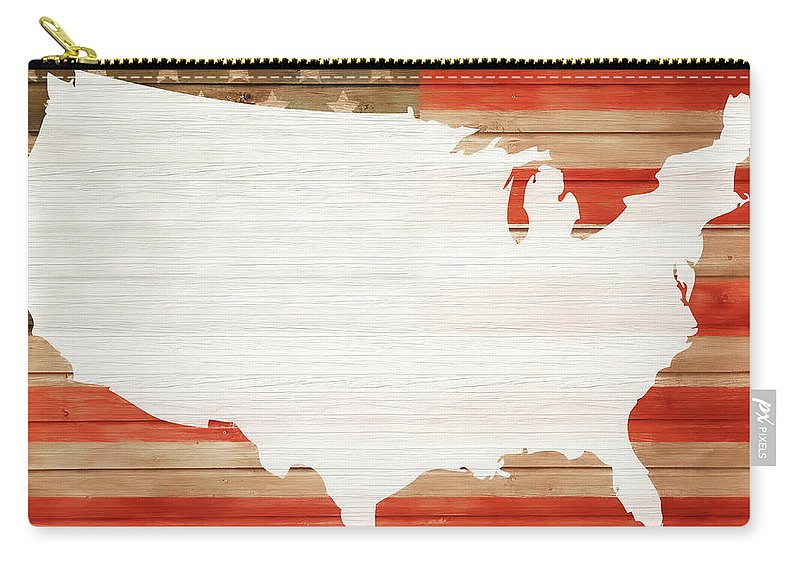 America Rustic Map On Wood Carry-all Pouch featuring the mixed media America Rustic Map On Wood by Dan Sproul