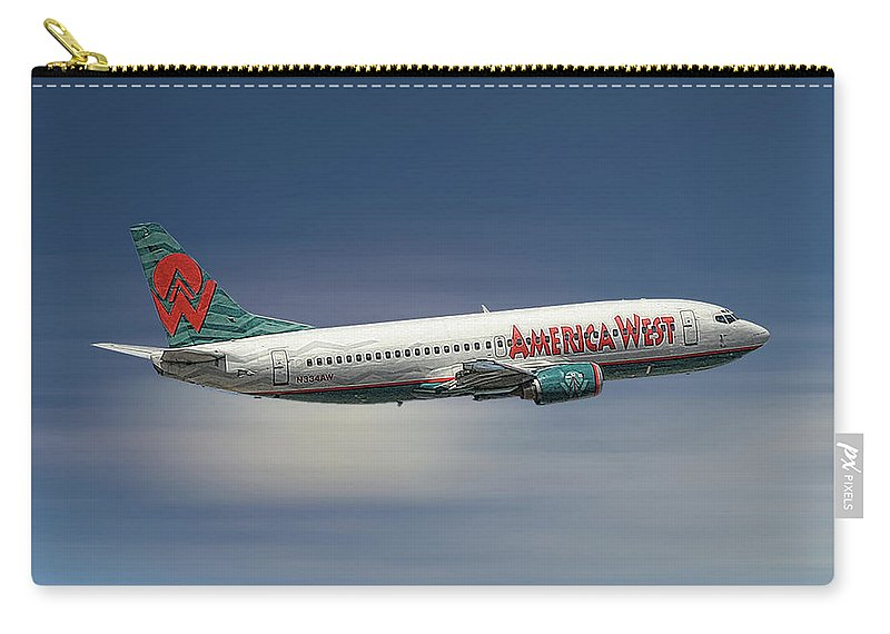 America West Carry-all Pouch featuring the mixed media America West Boeing 737-300 by Smart Aviation