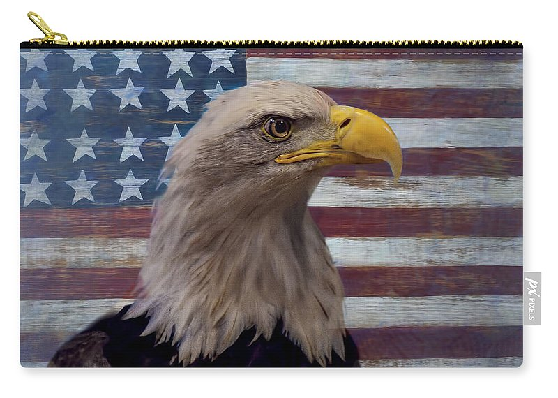 American Bald Eagle Carry-all Pouch featuring the photograph American Bald Eagle And American Flag by Garry Gay