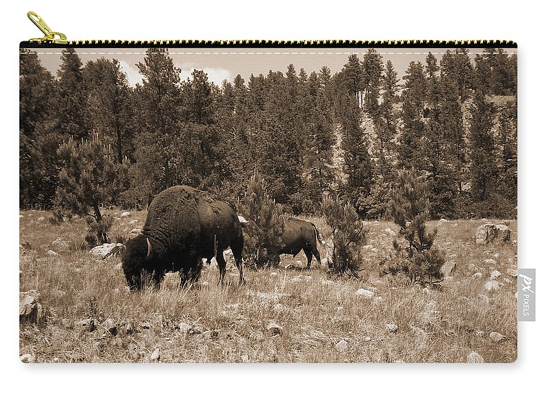 Bison Carry-all Pouch featuring the photograph American Bison Vintage by Pamela Peters