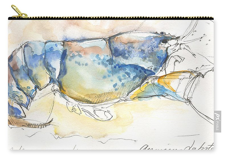 Lobster Carry-all Pouch featuring the painting American Blue Lobster by Sarah Madsen