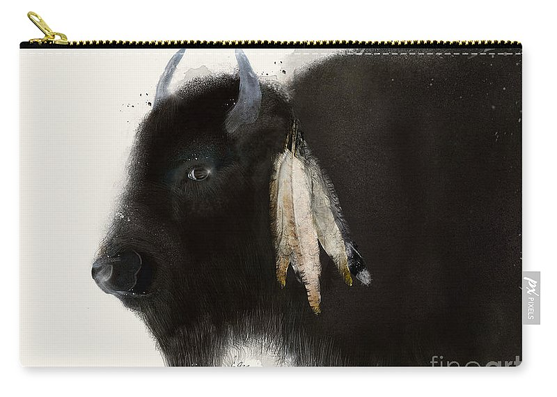Buffalo Carry-all Pouch featuring the painting American Buffalo by Bri Buckley