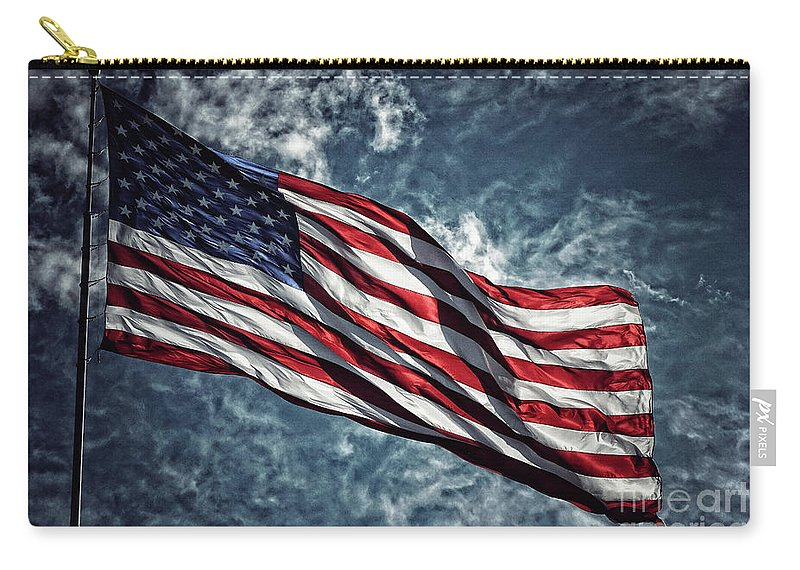 American Flag Carry-all Pouch featuring the photograph American Flag 0680b by Fitzroy Barrett