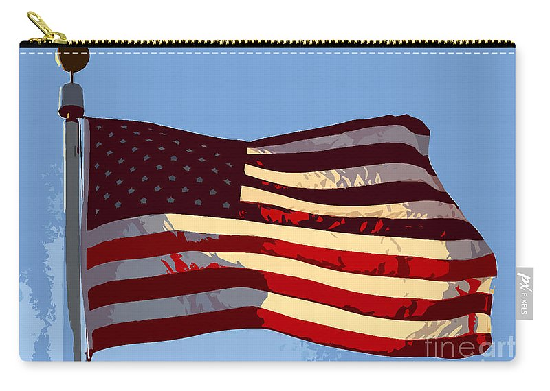 American Flag Carry-all Pouch featuring the painting American Flag by David Lee Thompson