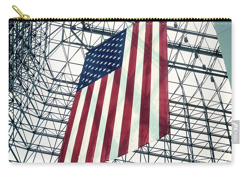Flag Carry-all Pouch featuring the photograph American Flag In Kennedy Library Atrium - 1982 by Thomas Marchessault