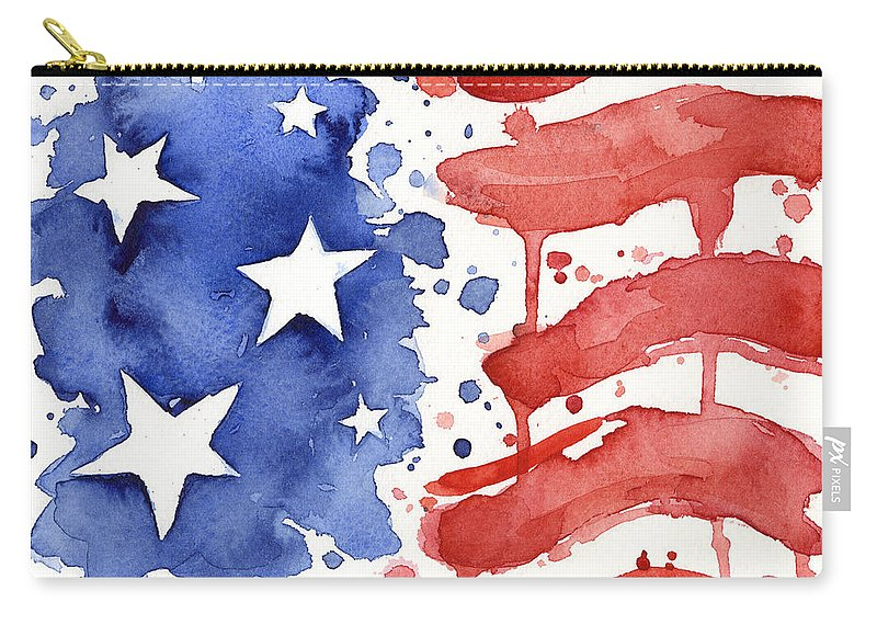 Red Carry-all Pouch featuring the painting American Flag Watercolor Painting by Olga Shvartsur