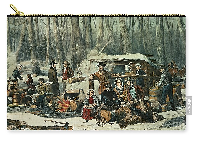 American Carry-all Pouch featuring the painting American Forest Scene by Currier and Ives