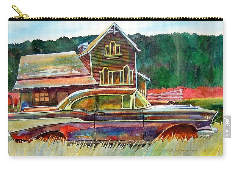 57 Chev Carry-all Pouch featuring the painting American Heritage by Ron Morrison