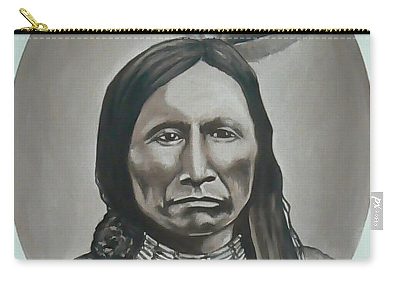 Michael Carry-all Pouch featuring the painting American Horse by Michael TMAD Finney