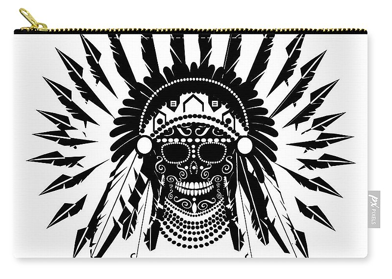 Abstract Carry-all Pouch featuring the digital art American Indian Skull Icon Background, Black And White by Maja Brncic