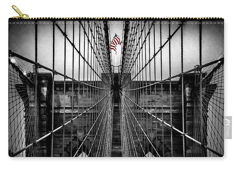 Brooklyn Bridge Carry-all Pouch featuring the photograph American Patriot by Az Jackson