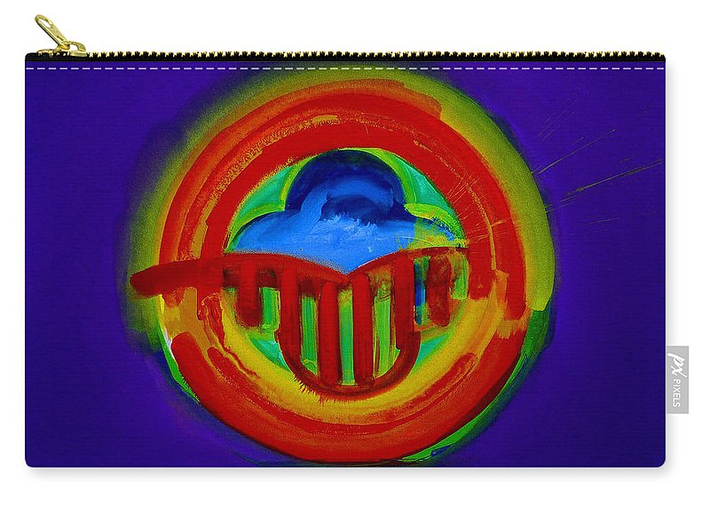 Button Carry-all Pouch featuring the painting American Power Button by Charles Stuart