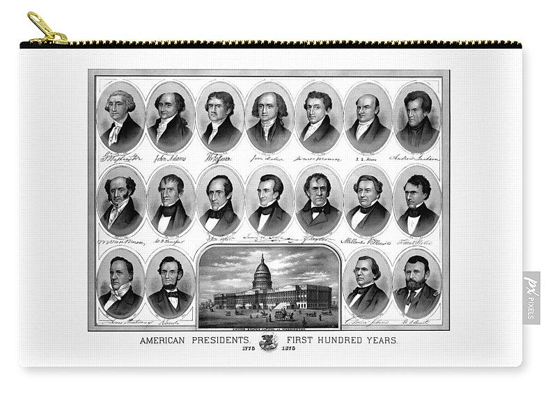 Us Presidents Carry-all Pouch featuring the mixed media American Presidents First Hundred Years by War Is Hell Store