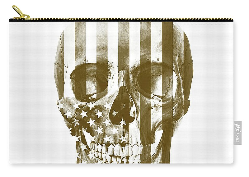Skull Carry-all Pouch featuring the mixed media American Skull Beige by Del Art
