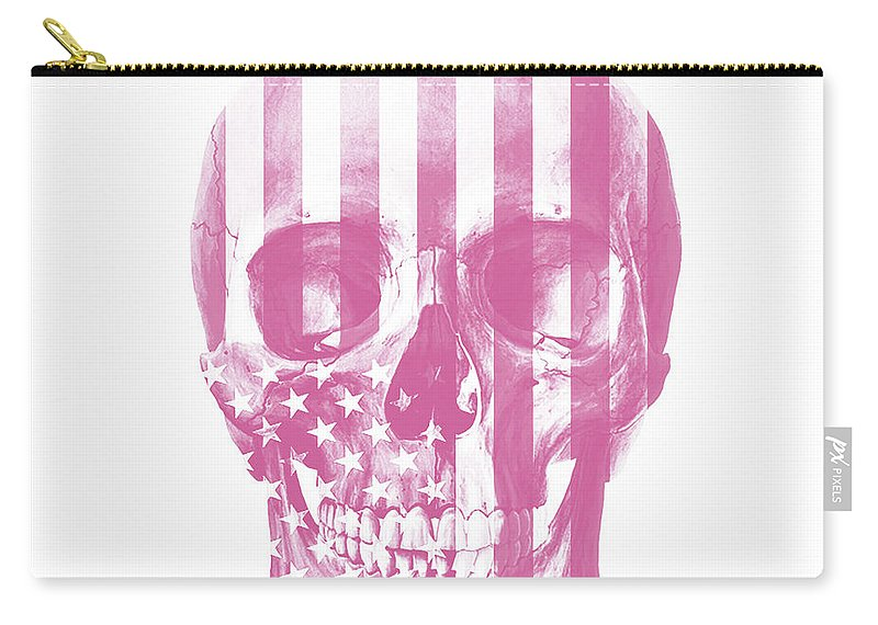 Skull Carry-all Pouch featuring the mixed media American Skull Pink by Del Art