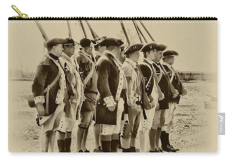 Fort Carry-all Pouch featuring the photograph American Soldiers At Fort Mifflin by Bill Cannon