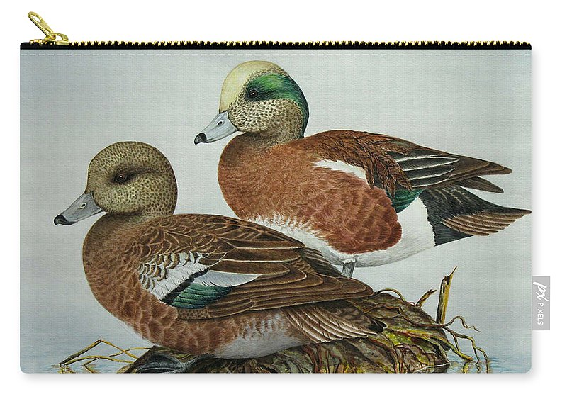 Ducks Carry-all Pouch featuring the painting American Widgeons by Elaine Booth-Kallweit