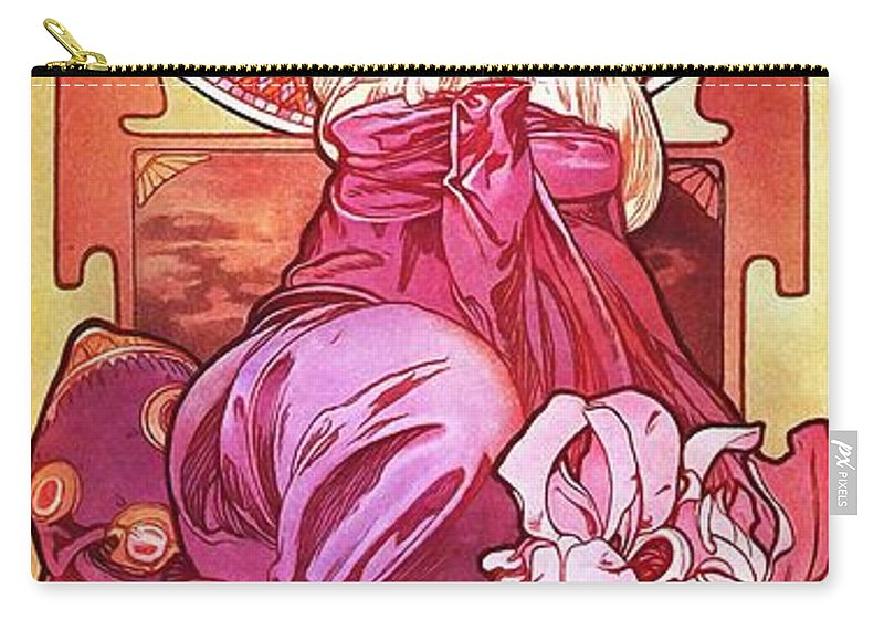 Mucha Carry-all Pouch featuring the painting Amethyst by Alphonse Mucha