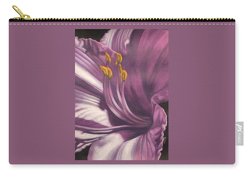 Floral Carry-all Pouch featuring the mixed media Amethyst by Barbara Keith