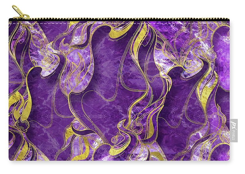 Amethyst Carry-all Pouch featuring the digital art Amethyst With Gold Marbled Texture by Creativemotions