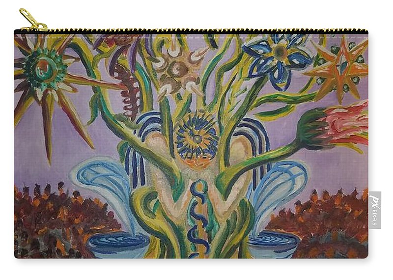 Flowers Carry-all Pouch featuring the painting Amidst The Blooms by Timothy Michael Foley