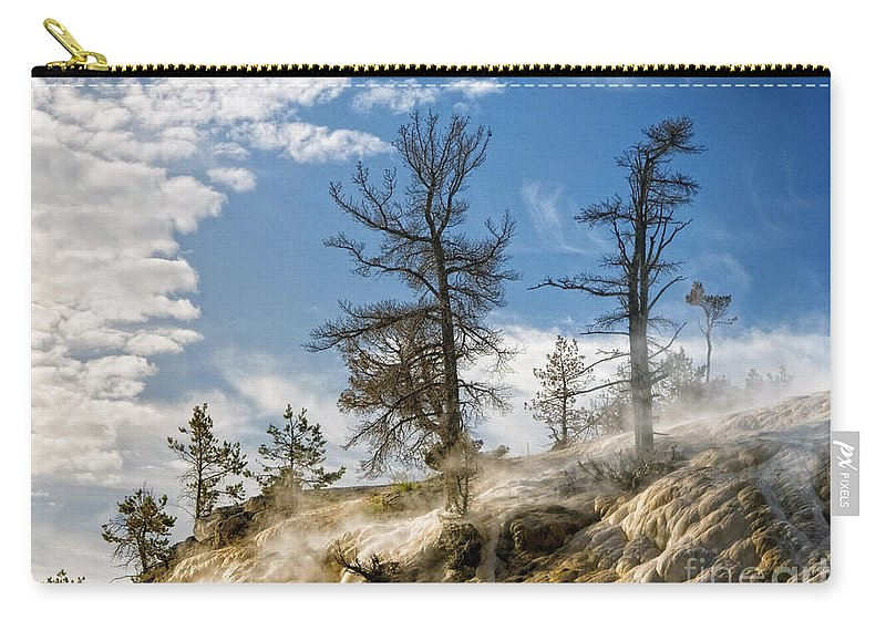 Yellowstone Carry-all Pouch featuring the photograph Amidst The Steam by Claudia Kuhn