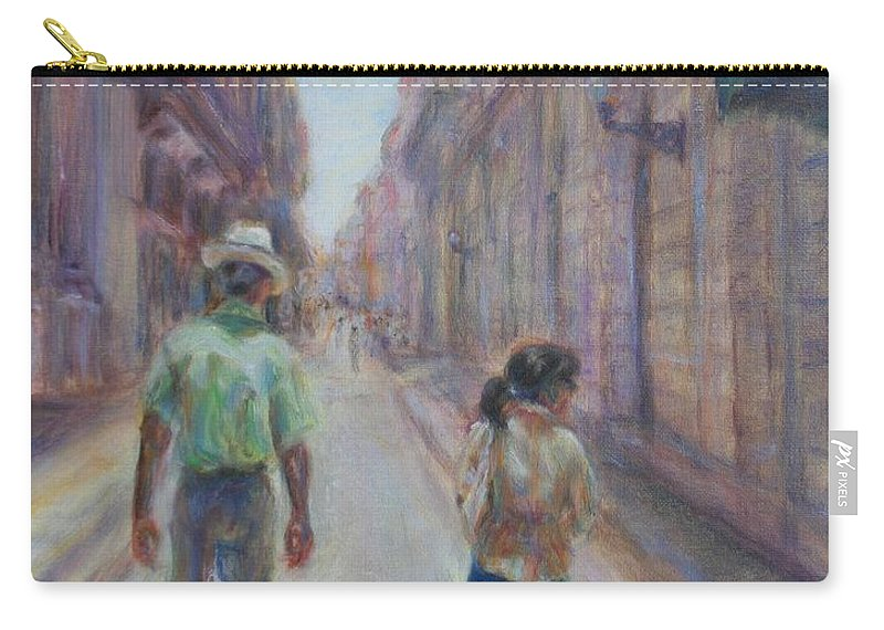 Quin Sweetman Carry-all Pouch featuring the painting Amigos En Havana by Quin Sweetman