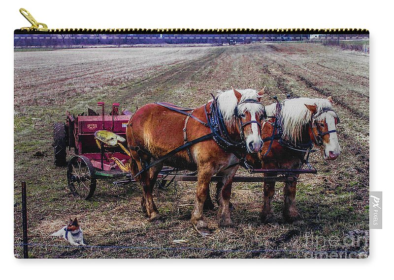 Amish Carry-all Pouch featuring the photograph Amish Farming Team by Tommy Anderson