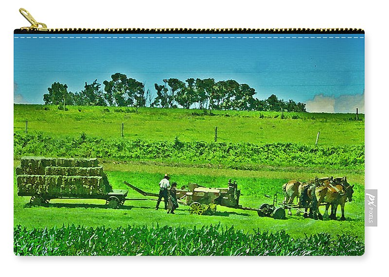 Lancaster County Carry-all Pouch featuring the photograph Amish Gathering Hay by Bill Cannon